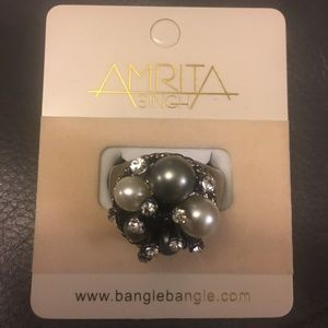 Gunmetal Ring w/ Faux Pearls & Rhinestones